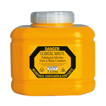 Sharps Disposal 5L Plastic Container front