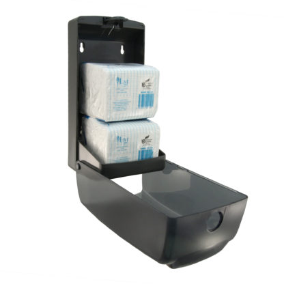 luxe black dual toilet tissue dispenser LX880773AT open angle