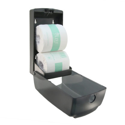 luxe black dual toilet roll dispenser LX880773AR angle front