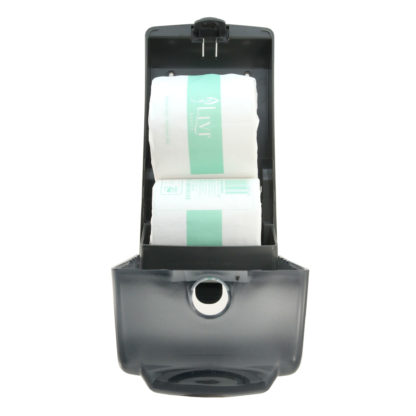 luxe black dual toilet roll dispenser LX880773AR open front