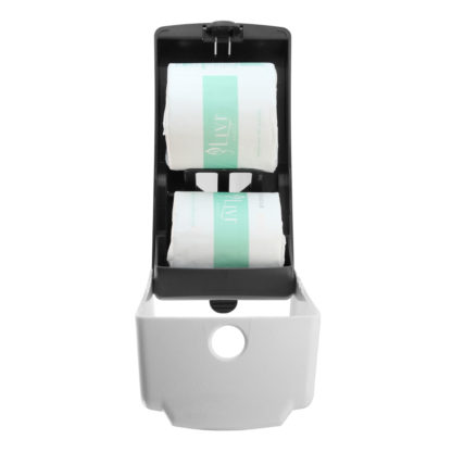luxe dual toilet roll dispenser LX-880771A-R fron open