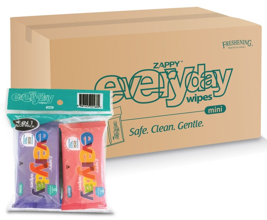 Zappy S Everyday Mini Value 4 Pack Wet Wipes 8 S With Aloe