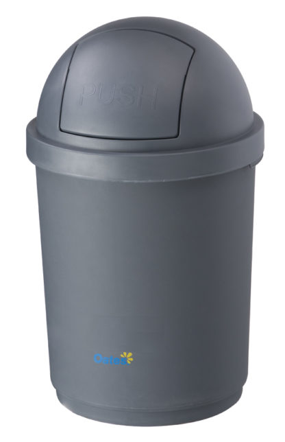 Domed Round Swing Lid Recycling Bin Grey Plastic oates BB-28DGY