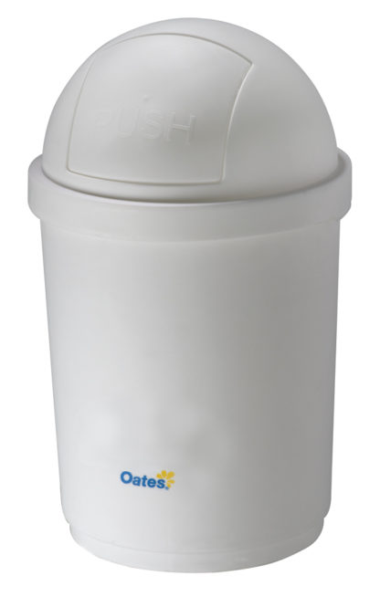 Domed Round Swing Lid Recycling Bin White Plastic Oates BB-28DW