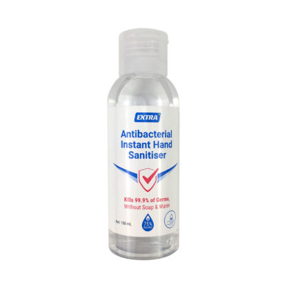 extra antibacterial 75% Alcohol instant hand sanitiser gel 100 ml front