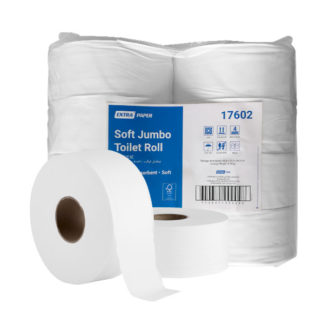 Extra Soft Bathroom Jumbo Toilet Paper Roll, 2 ply 300 metres, 8 Rolls Pack