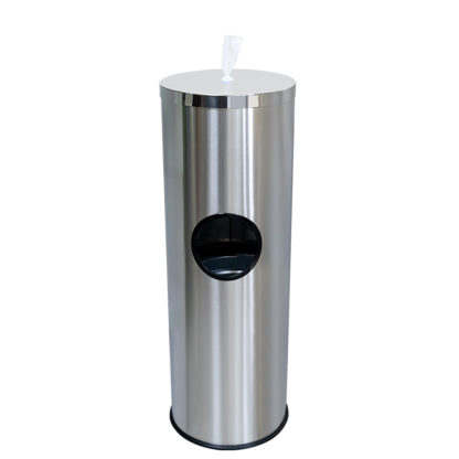 Stainless Steel Floor Standing Wet Wipe Dispenser Garbage Bin 16092