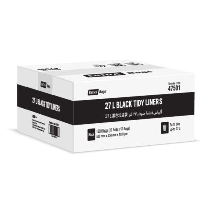 Extra Bags 27L Black Tidy Liners box closed 47501