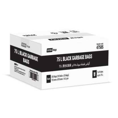 Extra Bags 75L Black Garbage Bags box closed