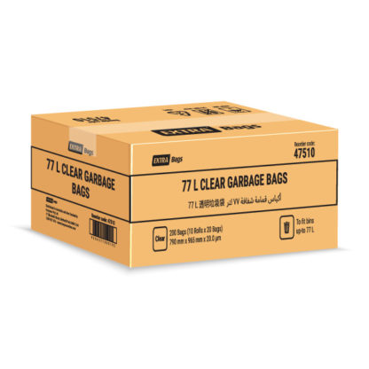 Extra Bags 77L Clear Garbage Bags box closed