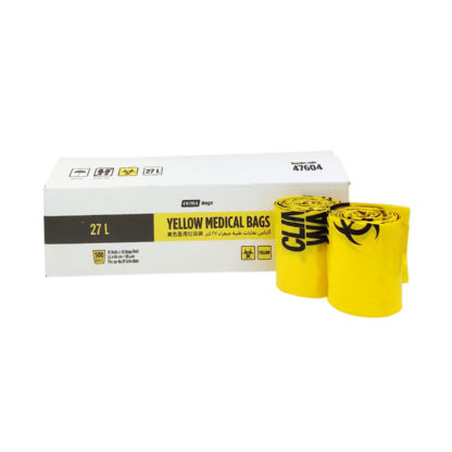 27 Litre Clinical Waste Yellow Medical Bags Roll Carton