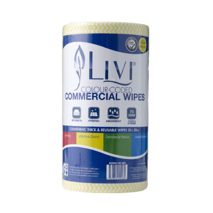 Livi Antibacterial Commercial Disposable Wipes 90s, Yellow 6005