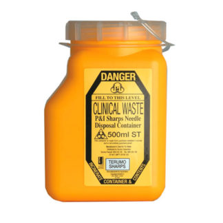 Sharps Container 500 ml Non-spill Screw Lid Front
